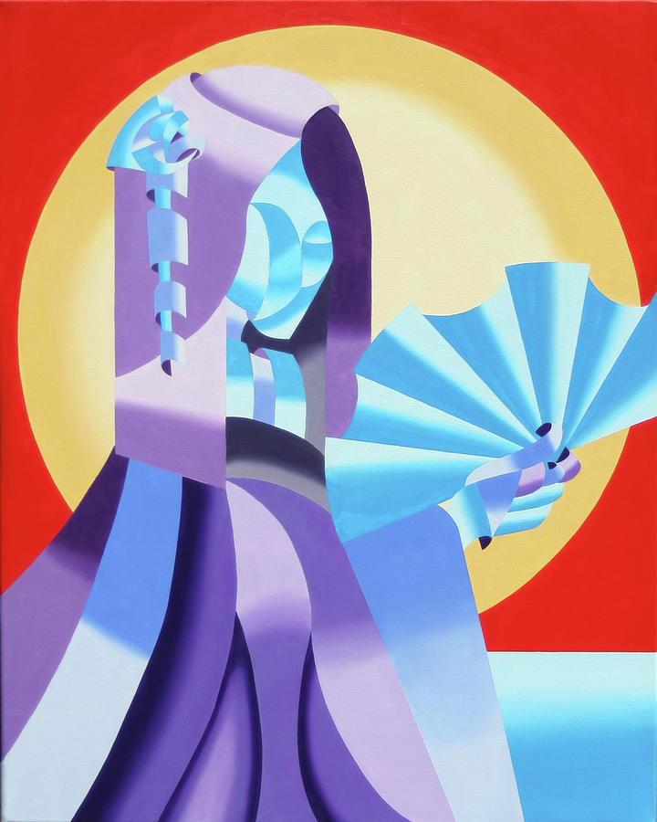 Abstract Painting - Mark Webster - Abstract Futurist Geisha by Mark Webster