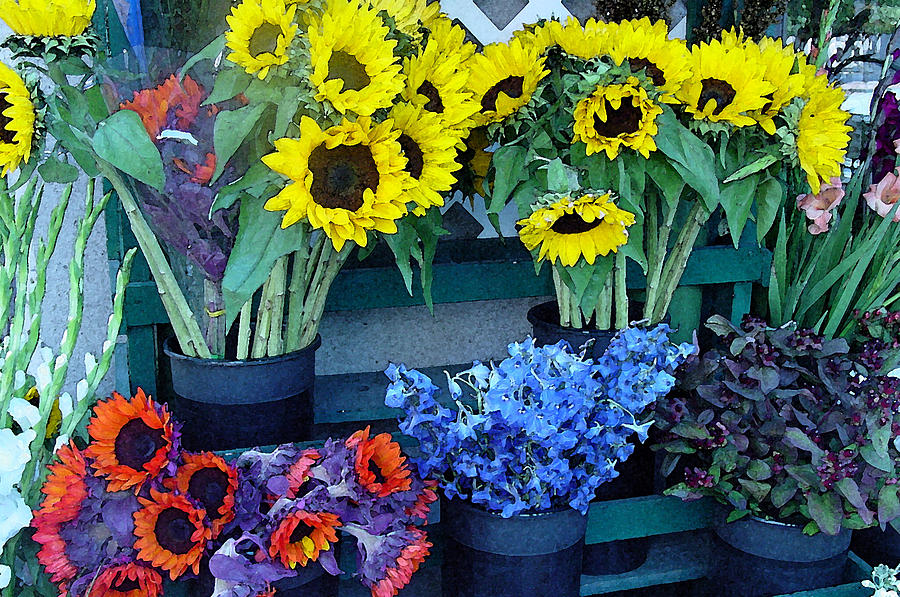 Flowers Photograph - Market Fresh In Watercolor by Suzanne Gaff