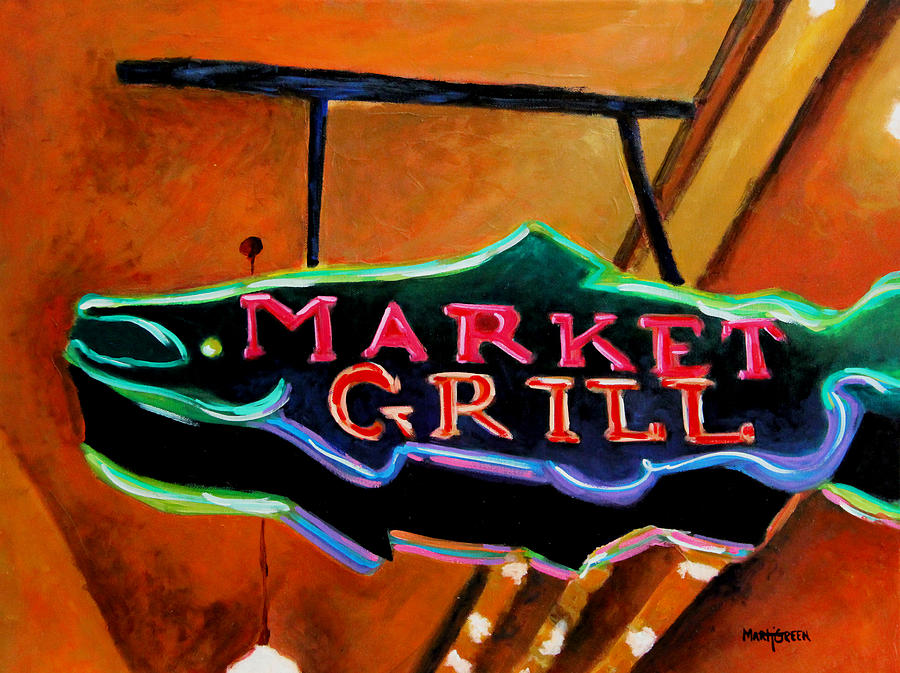 Market Painting - Market Grill by Marti Green
