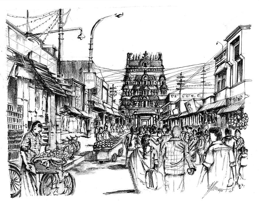 Indian Marketplace Drawing Market Place - Urban L...