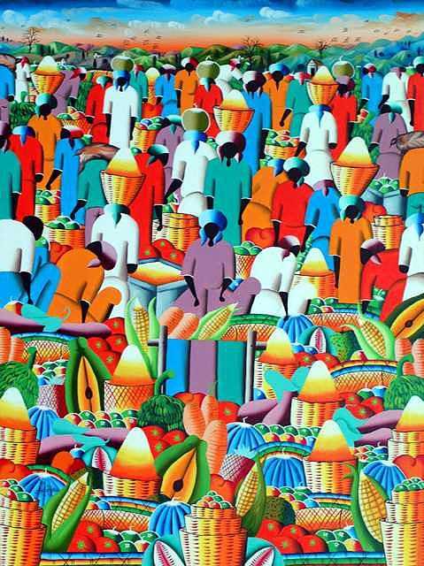 Market  Place Painting by Frantz Petion