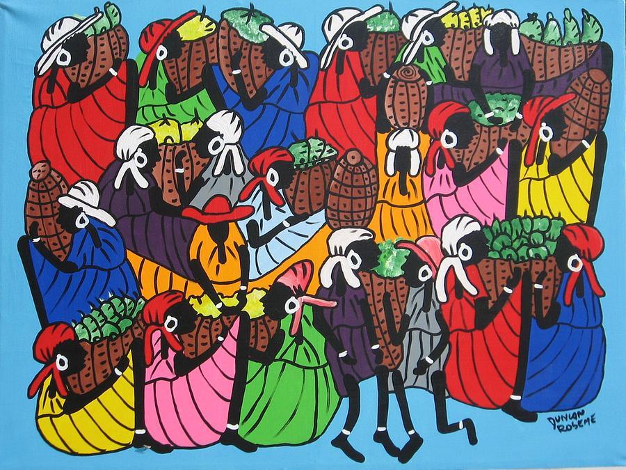 Market Scene Painting by Duncan Roseme