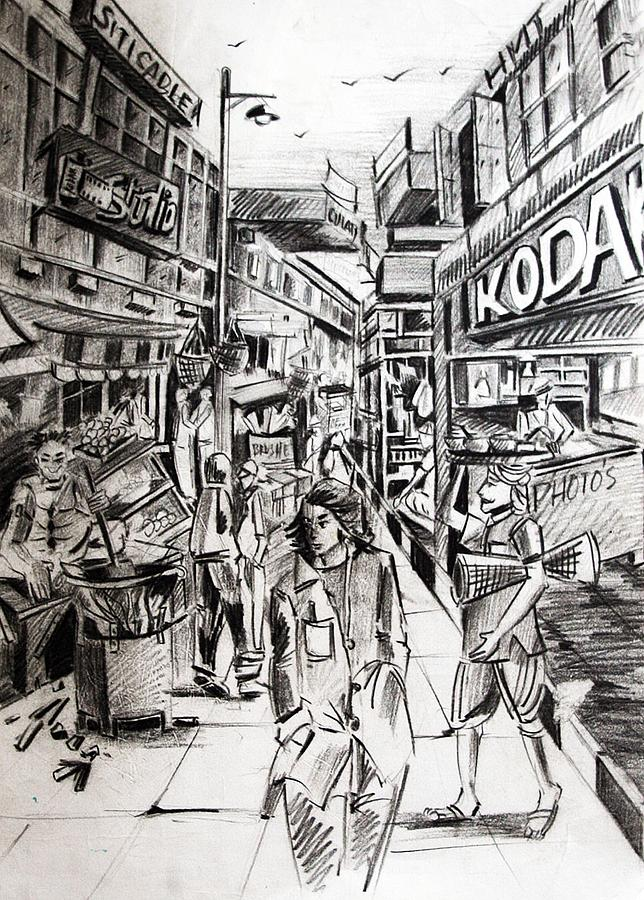 Market Drawing - Market Scene by Sundeep  Zutshi