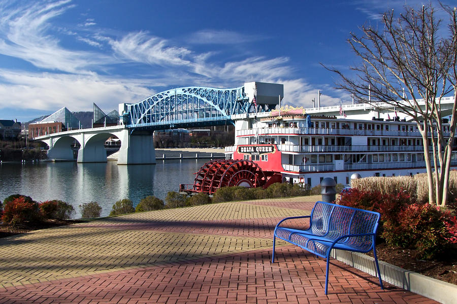 Landscape Photograph - Market Street Bridge With The Delta Queen From Coolidge Park by Tom and Pat Cory