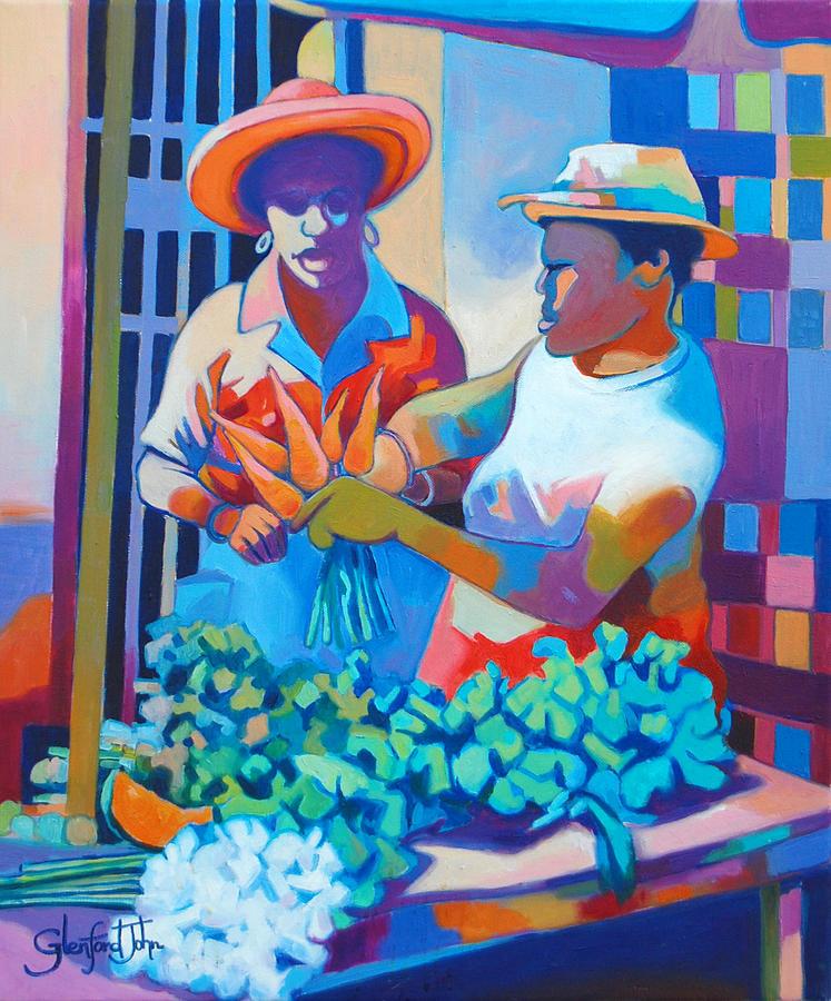 Market Scene Painting - Market Vendor by Glenford John