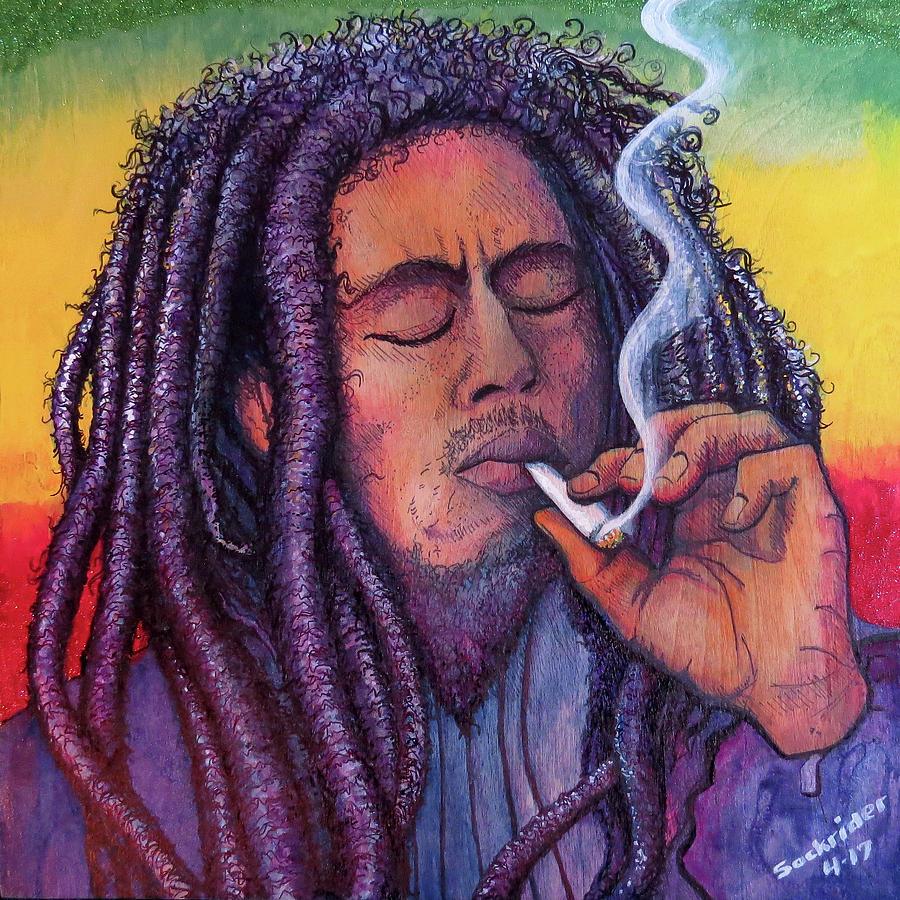 Bob Marley Painting - Marley Smoking by David Sockrider