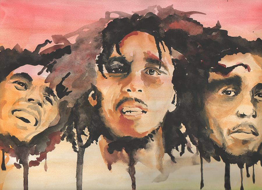 Bob Marley Painting - Marley Trio by Matt Burke