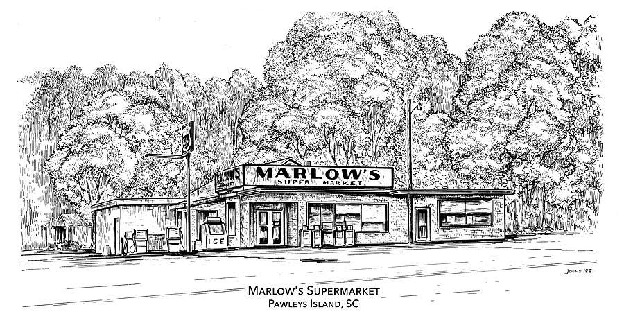 Pawleys Island Drawing - Marlows Market by Greg Joens