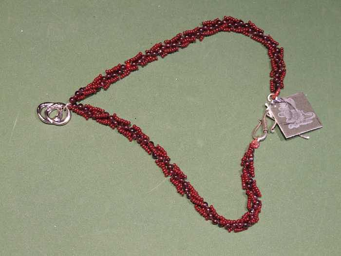 Maroon And Brown Lacy Weave With Sterling Pendant Jewelry by Susan Anderson