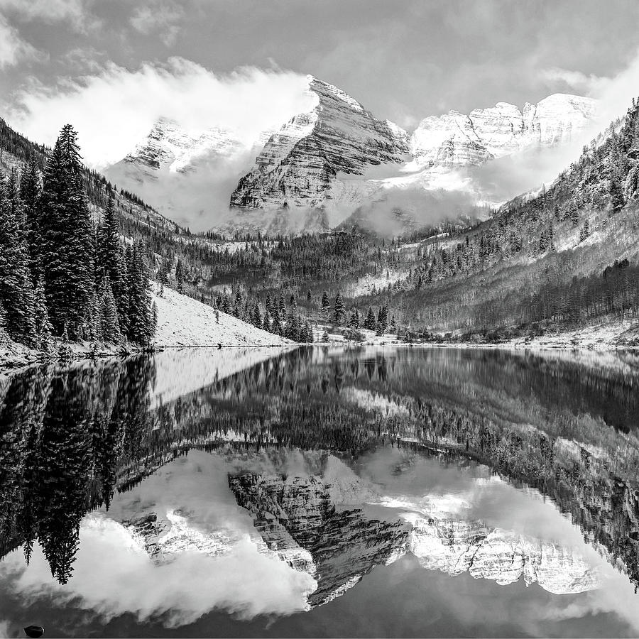 America Photograph - Maroon Bells - Aspen Colorado - Monochrome - American Southwest 1x1 by Gregory Ballos