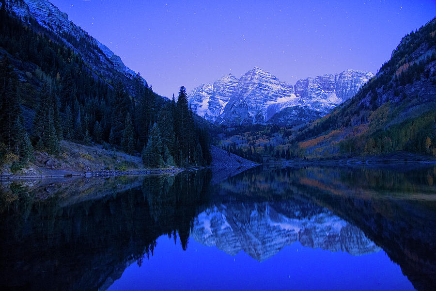 Maroon Bells before sunrise by Nancy Dunivin