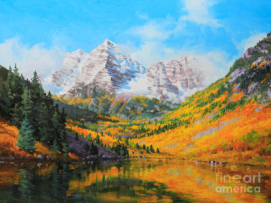 Lake Painting - Maroon Bells by Gary Kim