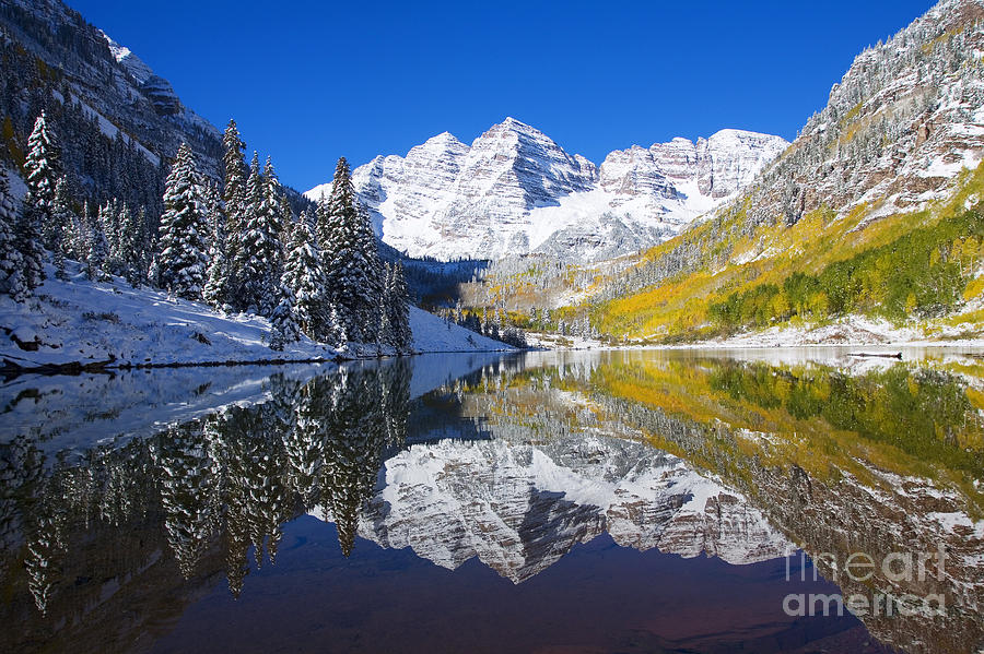 Aspen Photograph - Maroon Lake And Bells 1 by Ron Dahlquist - Printscapes