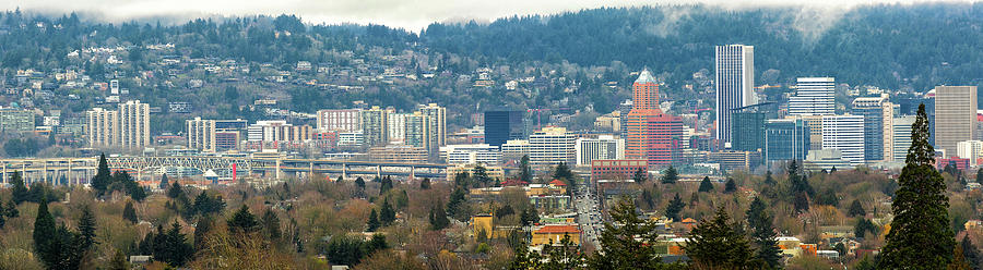 Marquam Bridge Photograph - Marquam Bridge by Portland City Skyline Panorama by David Gn
