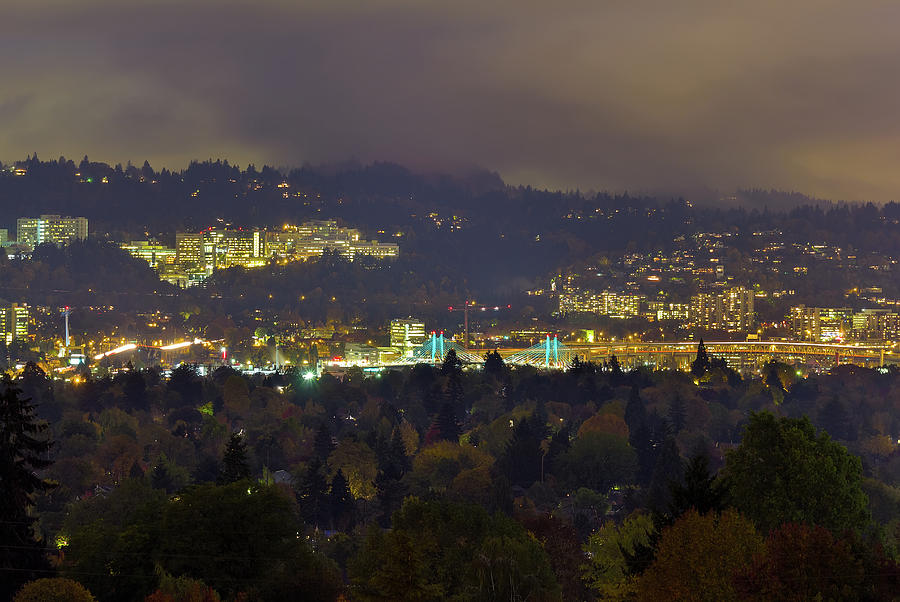 Marquam Hill Photograph - Marquam Hill and Portland Bridges at Night by David Gn