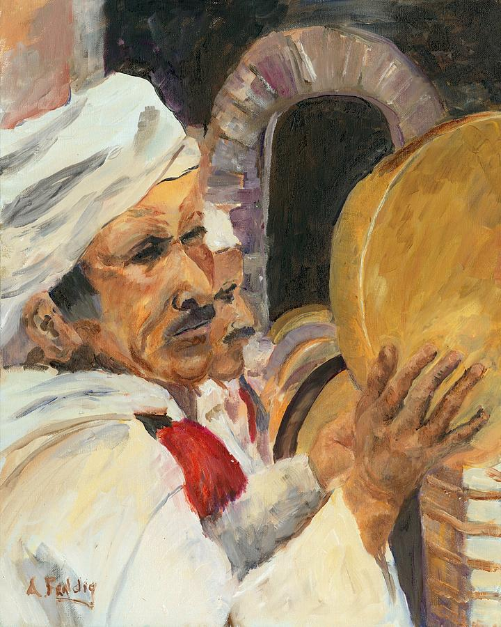 Marrakesh Musician Painting by Albert Fendig