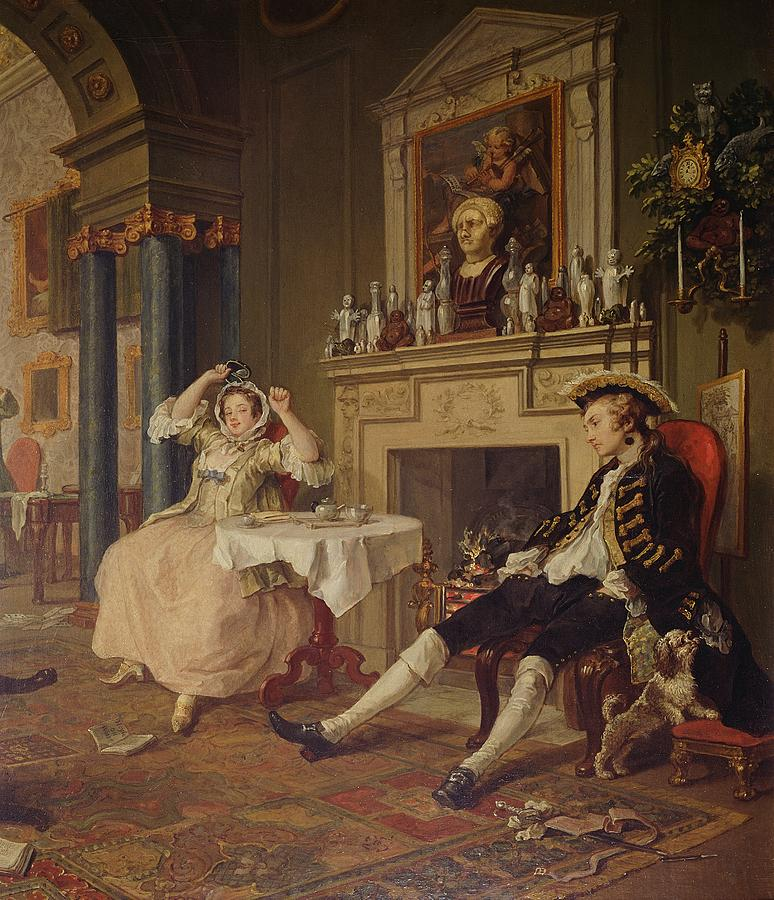 Marriage Painting - Marriage A La Mode II The Tete A Tete by William Hogarth