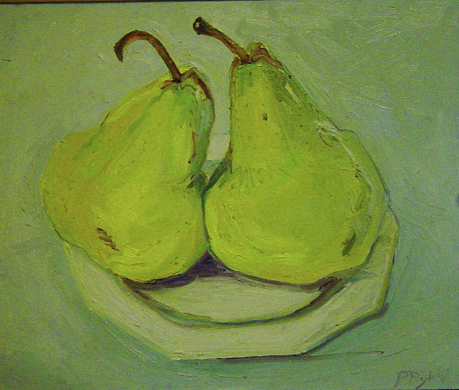 Simple Still Life Painting - Marriage Of The Pears by Pat Gray