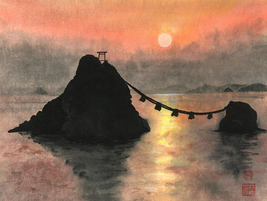Rocks Painting - Married Couple Rocks At Sunset by Terri Harris