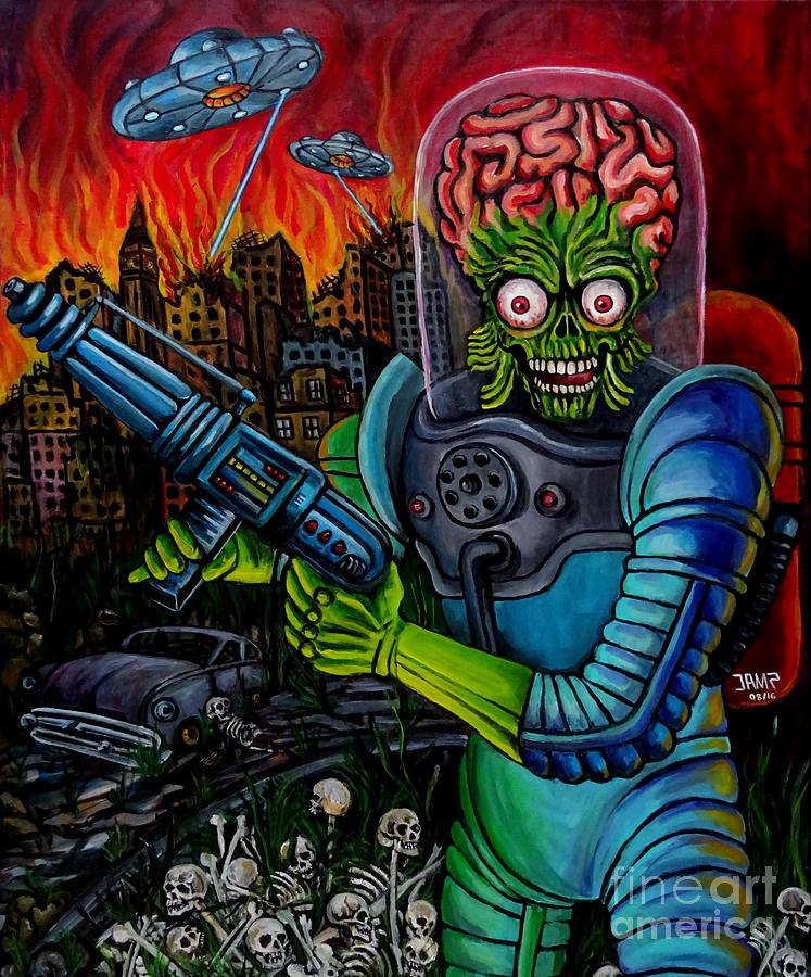 Mars Attacks Painting - Mars Attacks 2 by Jose Mendez