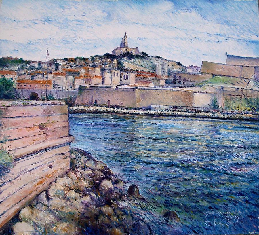 Marseilles France Painting - Marseille Pierre Plats Provence France Cm 2004  by Enver Larney