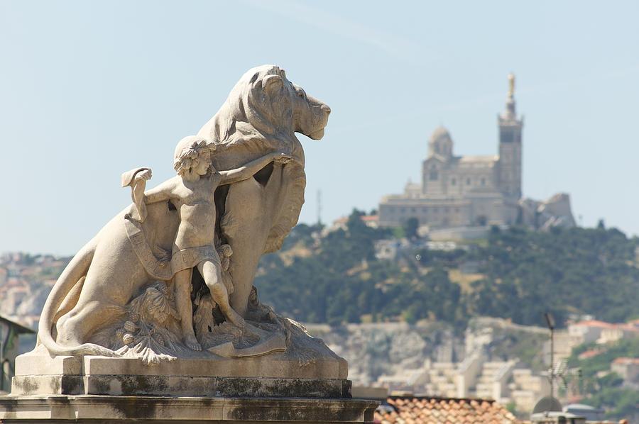 Lion Photograph - Marseille-saint-charles Statue, France by Jeffrey Worthington