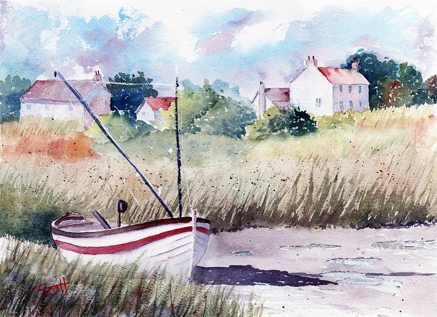 Landscape Painting - Marsh Boat by Scott Brown