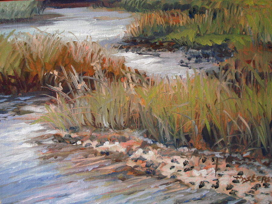 Marsh Reflections Painting by Marilyn Masters