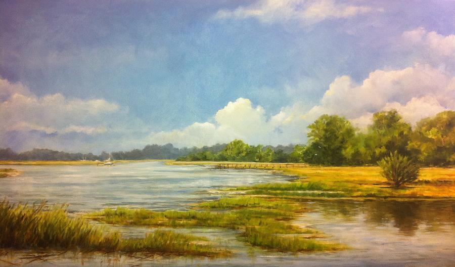 Marsh Painting - Marsh Reflections by Peggy Ellis