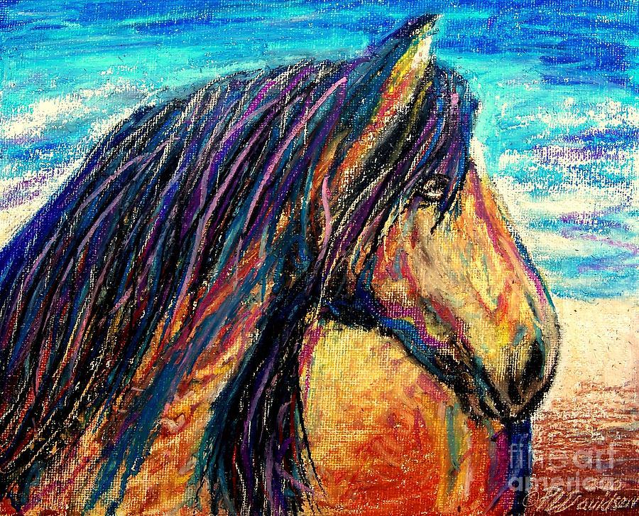 Wild Horses Painting - Marsh Tacky Wild Horse by Patricia L Davidson