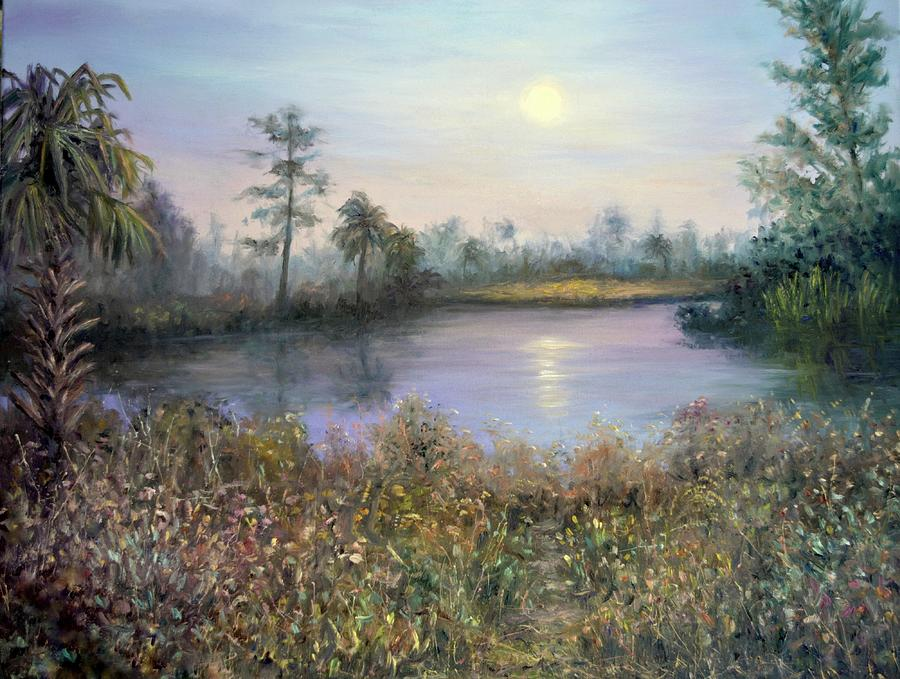 Marsh Wetland Moon Landscape Painting by Amber Palomares