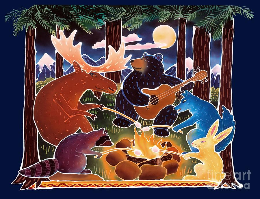 Camping Painting - Marshmallow Roast by Harriet Peck Taylor