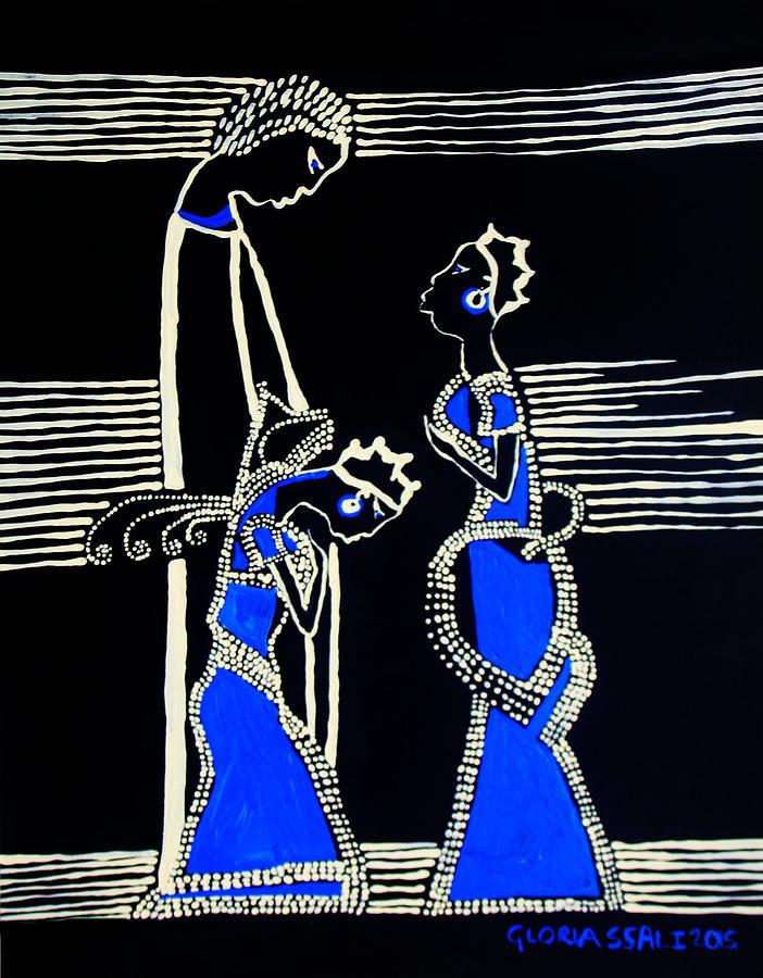 Jesus Painting - Martha And Mary Of Bethany by Gloria Ssali