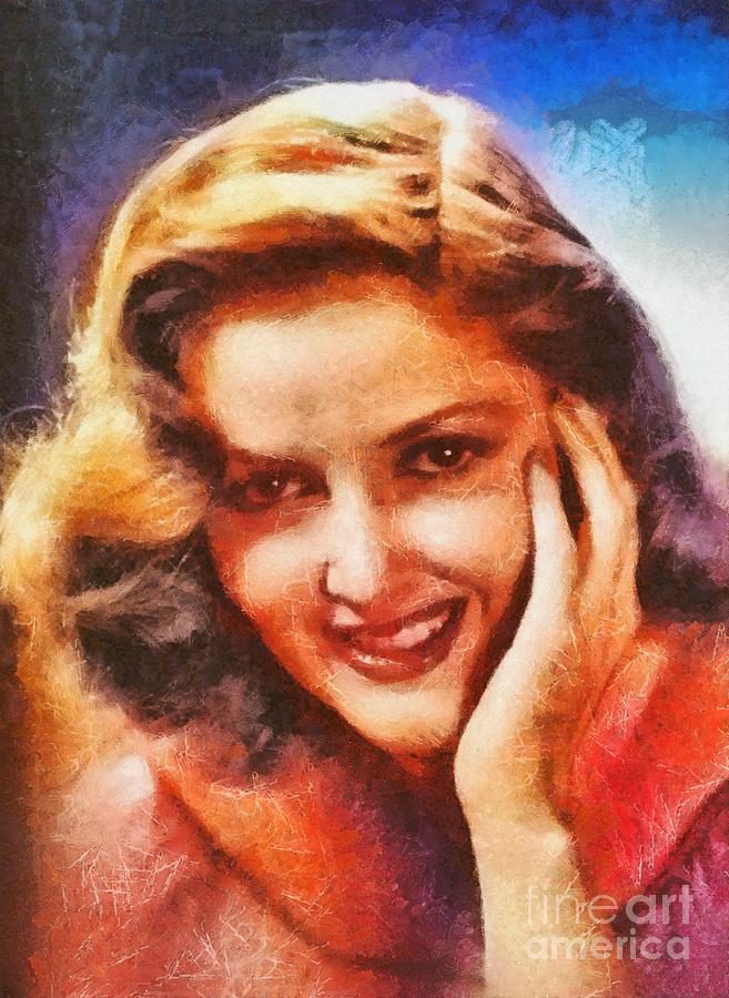Hollywood Painting - Martha Vickers, Vintage Hollywood Actress by Mary Bassett