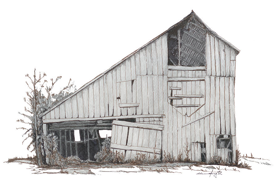 Barn Drawing - Marthas Barn by Mel Murphy