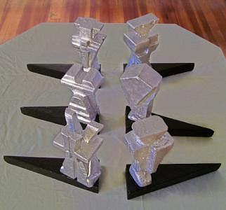 Aluminium Sculpture - Martian Chess Pieces by Wayne Briner
