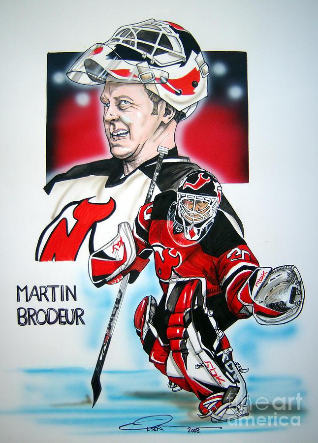 Nhl Painting - Martin Brodeur by Dave Olsen