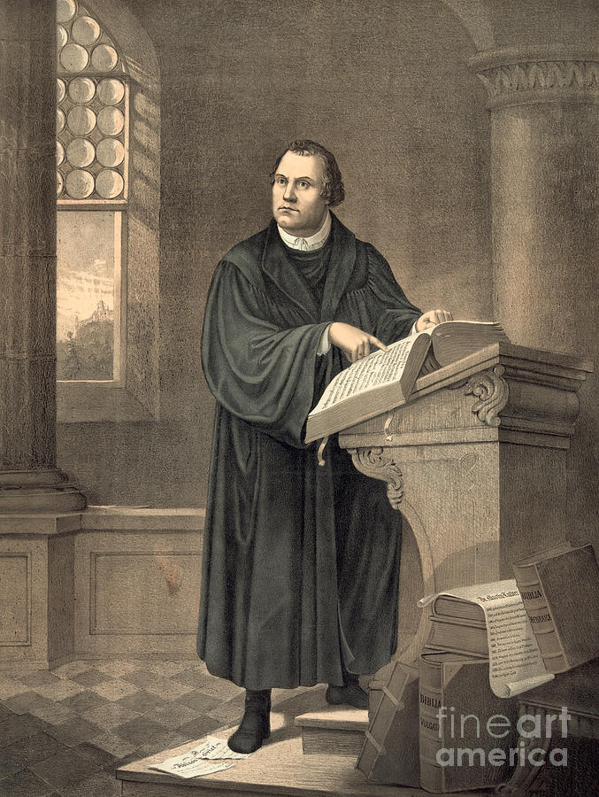 Martin Luther In His Study Painting by American School