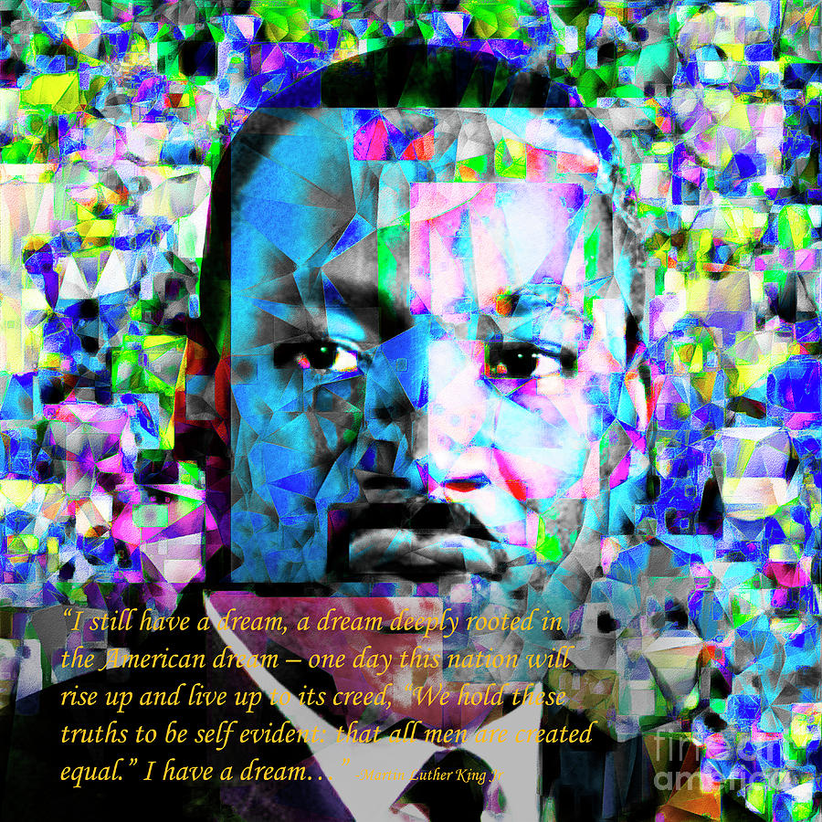 Wingsdomain Photograph - Martin Luther King Jr In Abstract Cubism 20170401 Text by Wingsdomain Art and Photography