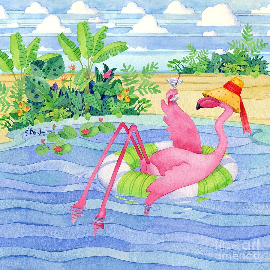 Flamingo Painting - Martini Float Flamingo by Paul Brent