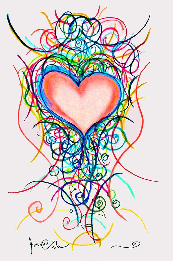 Hearts Drawing - Martini Heart by Jon Veitch
