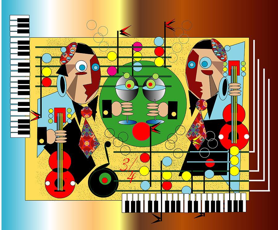 Music Digital Art - Martini Strings by George Pasini