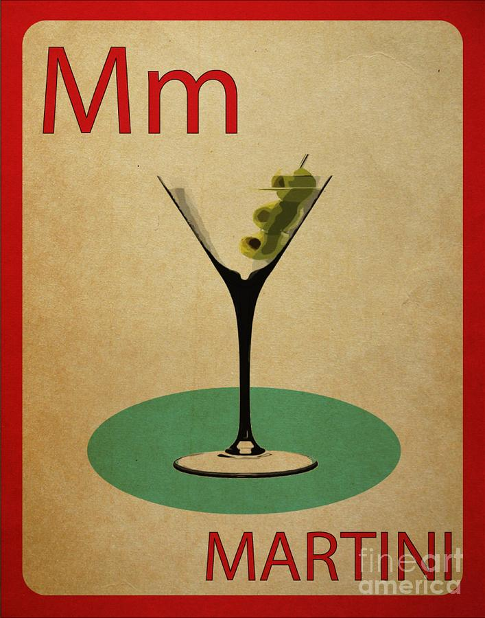 Martini Vintage Flashcard Digital Art by Mynameisjz JZ