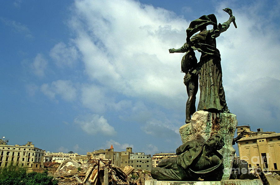 Debris Photograph - Martyrs Statues In Beirut by Sami Sarkis