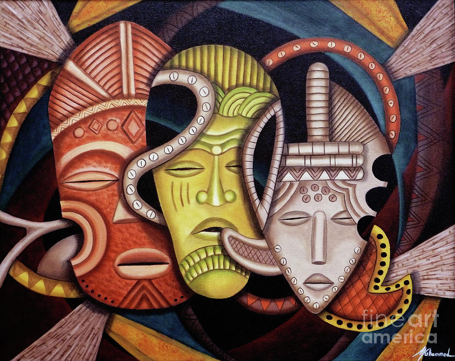 Masks Painting - Maruvian Society Masks by Marcella Muhammad