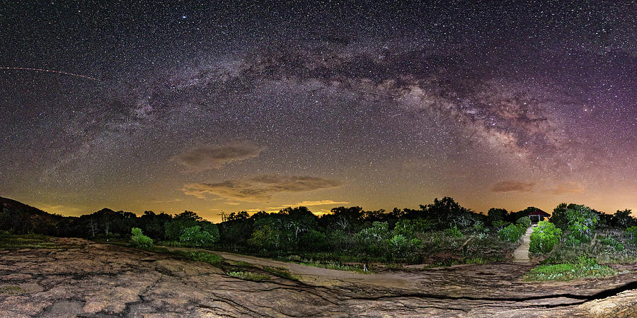 Central Photograph - Marveling At The Creation Of God - Milky Way Panorama At Enchanted Rock - Texas Hill Country by Silvio Ligutti