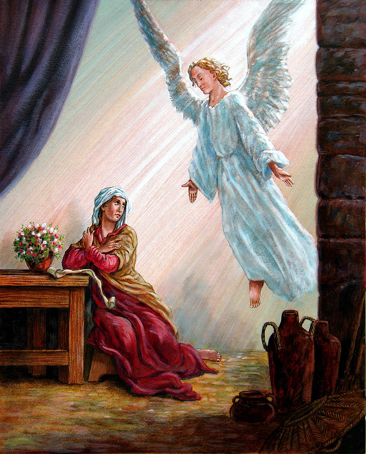 Angel Painting - Mary And Angel by John Lautermilch