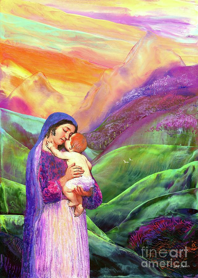 Mary And Baby Jesus Gift Of Love Painting