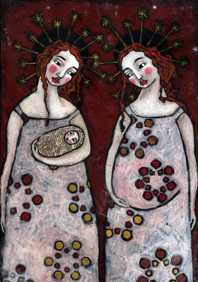 Angel Painting - Mary And Elizabeth 2 by Julie-ann Bowden