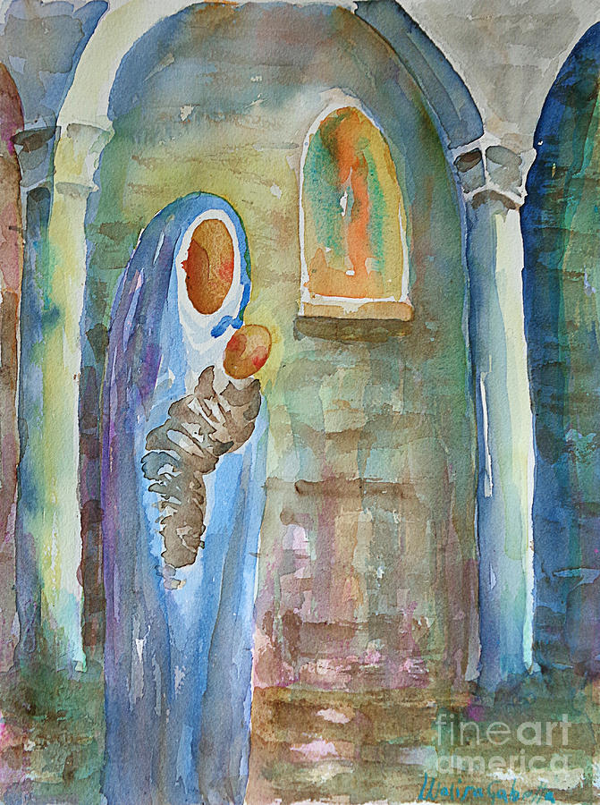 Watercolor Painting - Mary and the Child by Marisa Gabetta